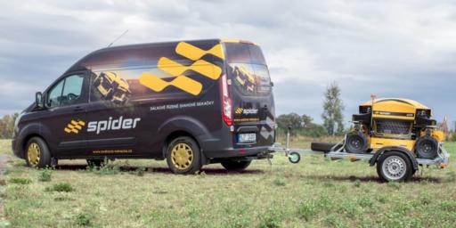 Spider mower on trailer
