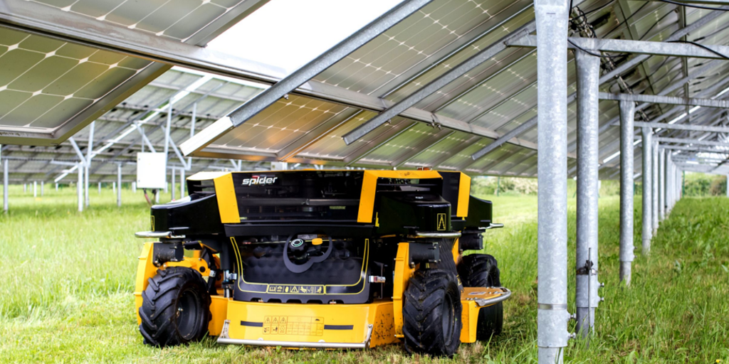 Spider 2SGS mower underneath solar pv panel